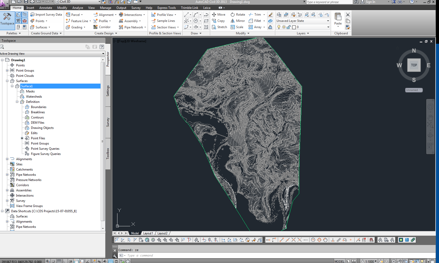 Contour Line Drawing In Autocad : Solved unable to create surface from contours autodesk