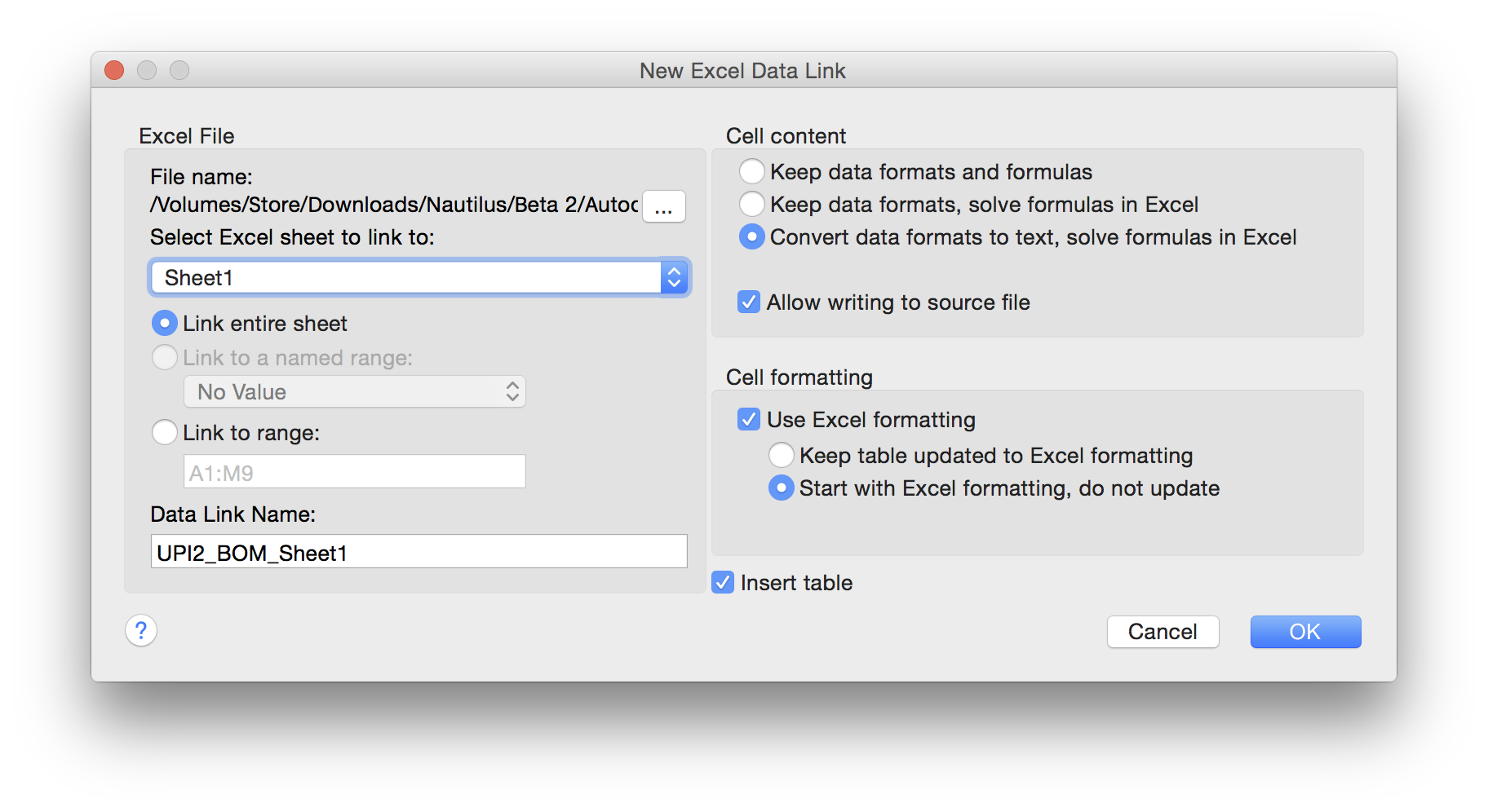 Solved: Link an Excel Table in AutoCAD for Mac 2016