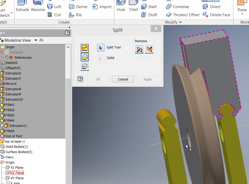 how to use split command in inventor