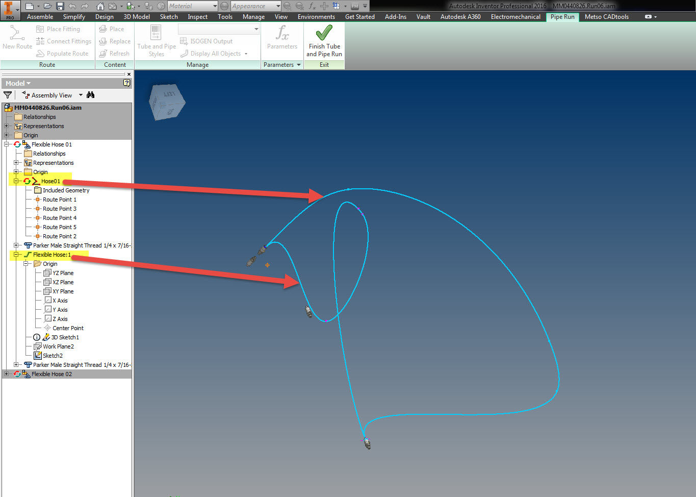 Solved Inventor 2014 Tube Pipe Flexible Hose Not Updating