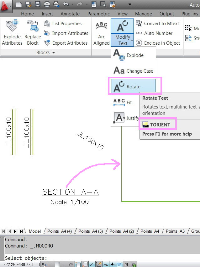 how to create block text in autocad lt