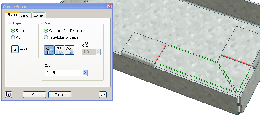 Solved Corner Of 2 Different Size Flanges In Sheet Metal