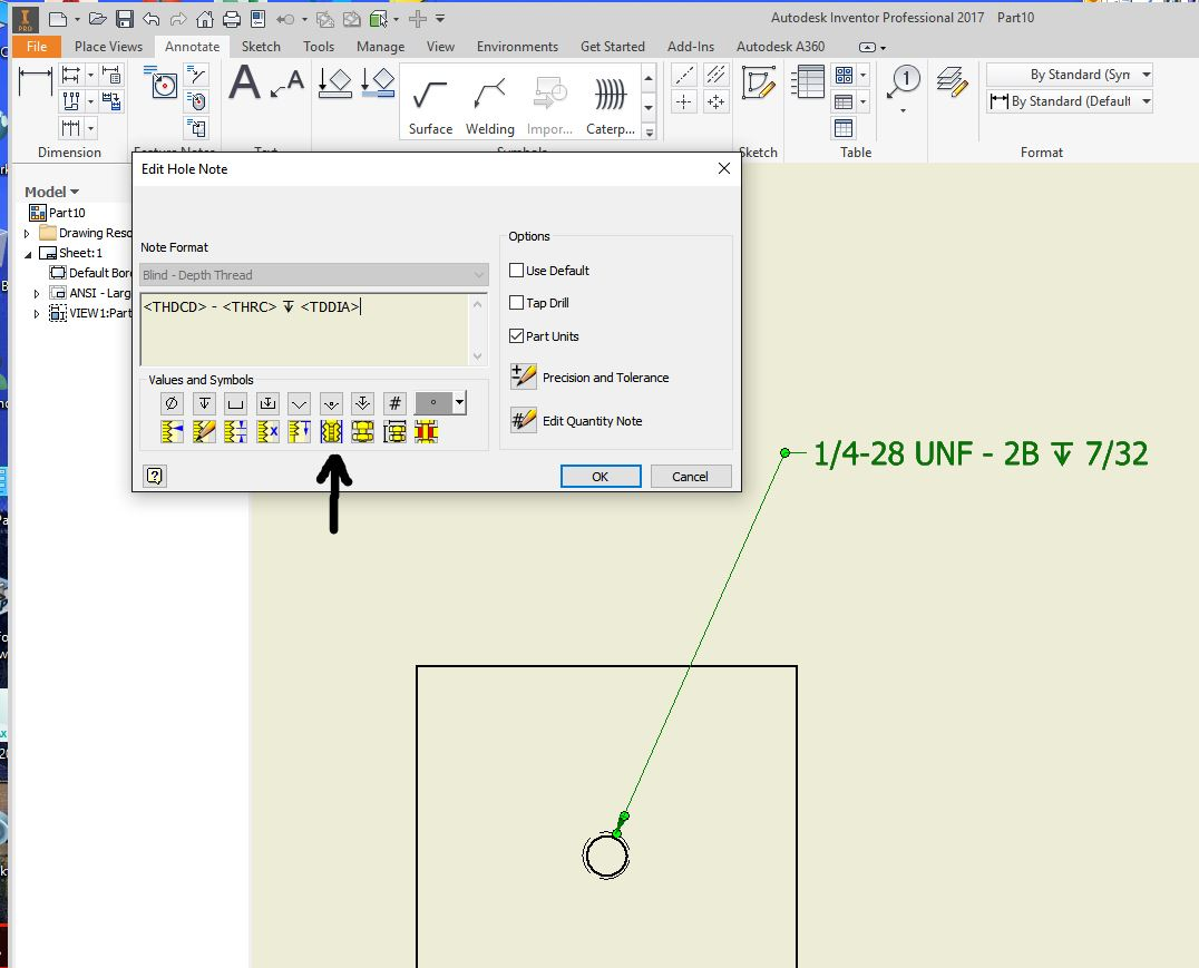 Threaded Hole Major/Minor diameter Min/Max in Hole callout