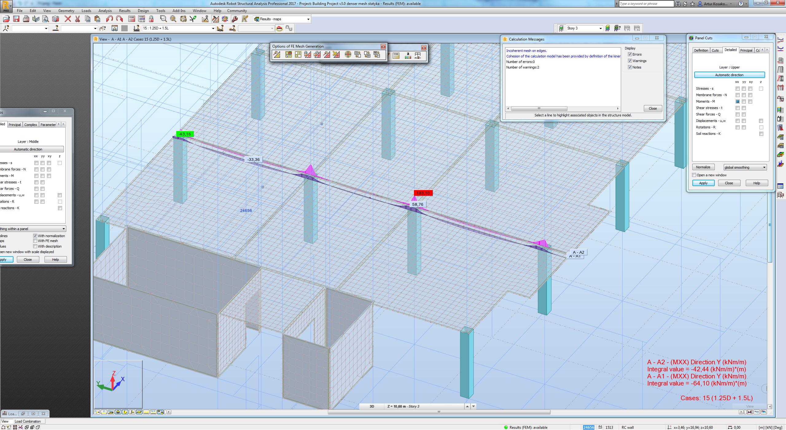 Building Flat Slab - Moments - Autodesk Community- Robot