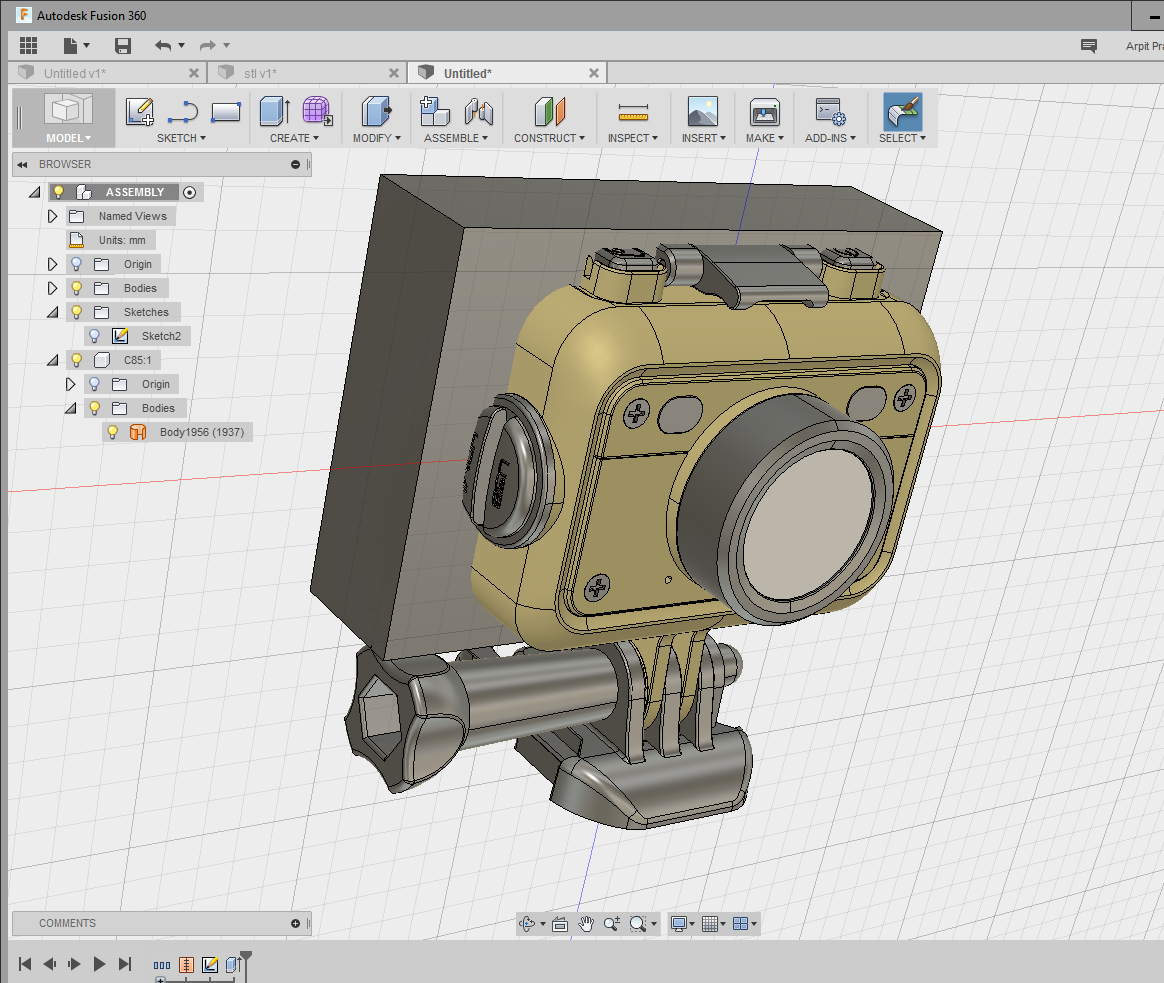 Can't Combine Imported Stl And Body.