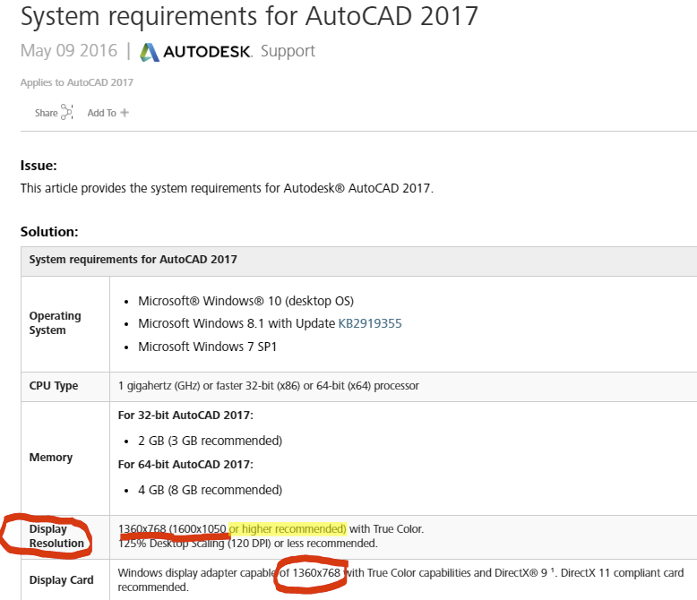 4K, 3840 X 2160 Resolution Problem Scaling In AutoCAD 2016