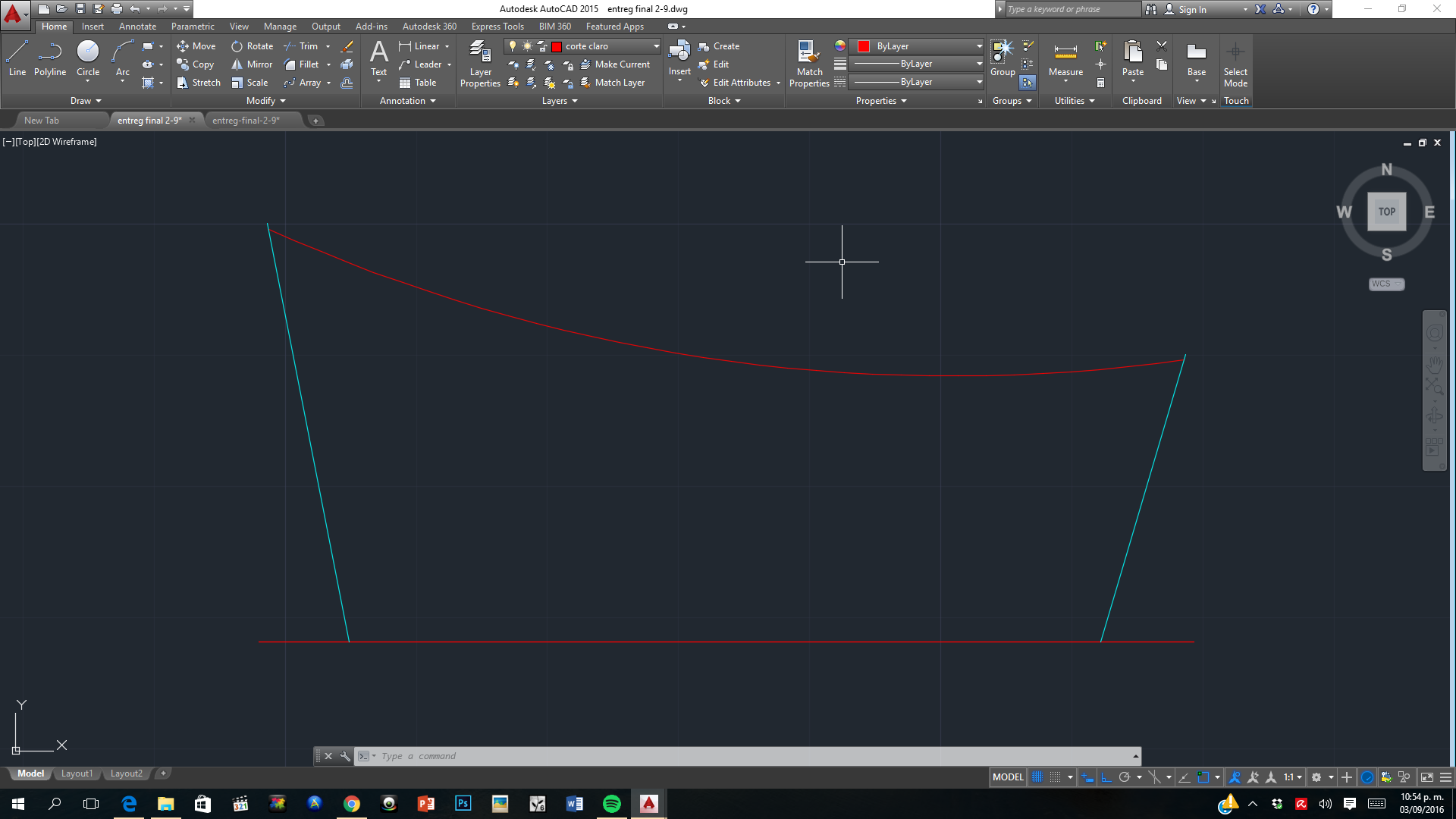 how to create lines on an arc autocad