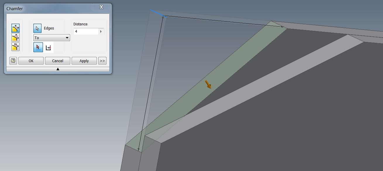 how to use chamfer in inventor