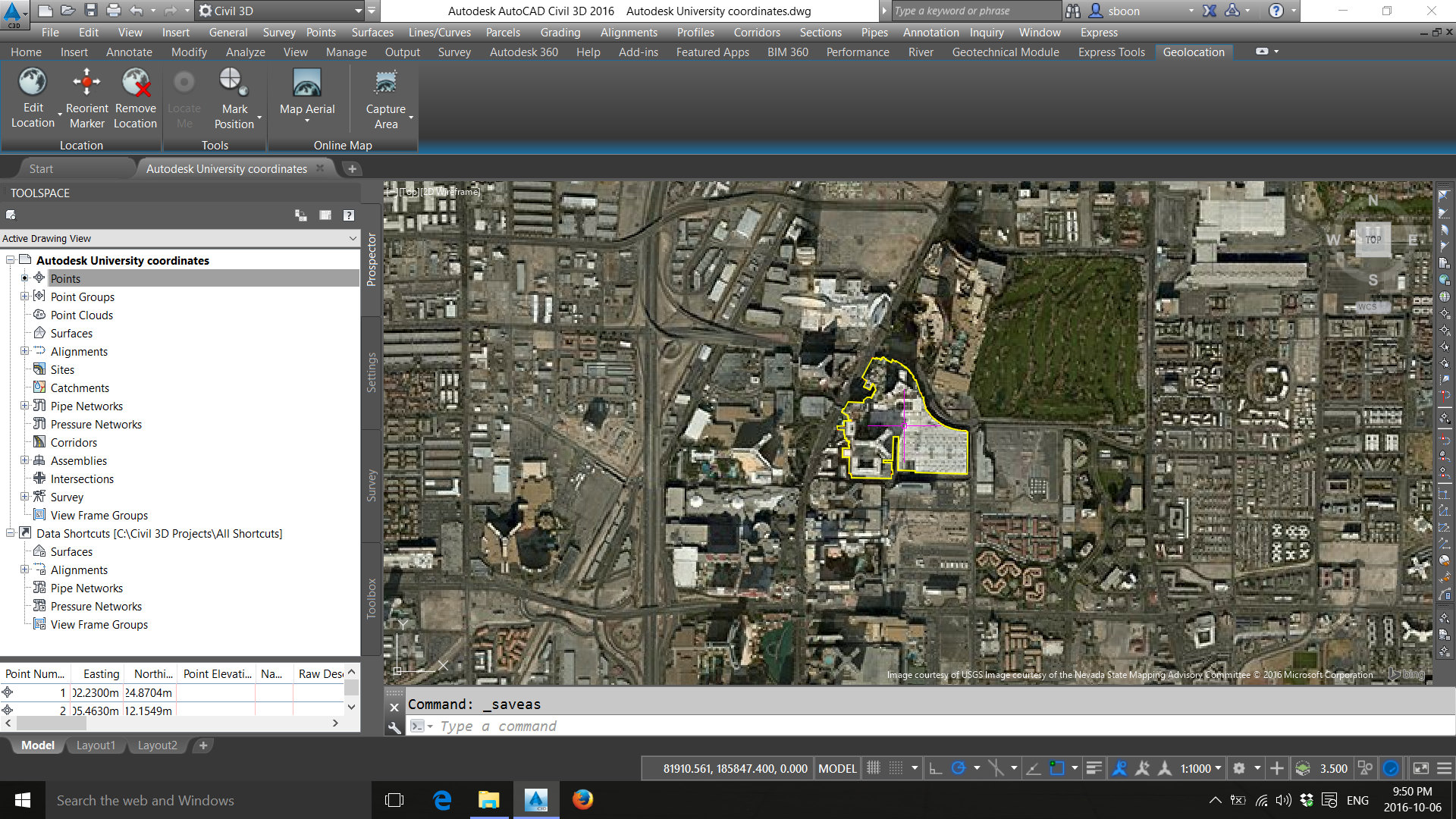 Drawing Lines In Autocad Using Coordinates : Setting up coordinate systems for bing maps and other gis data