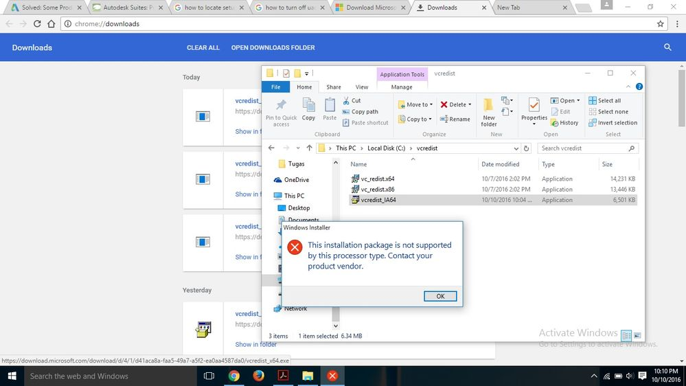 microsoft visual c++ 2013 redistributable package (x64) appears to have failed