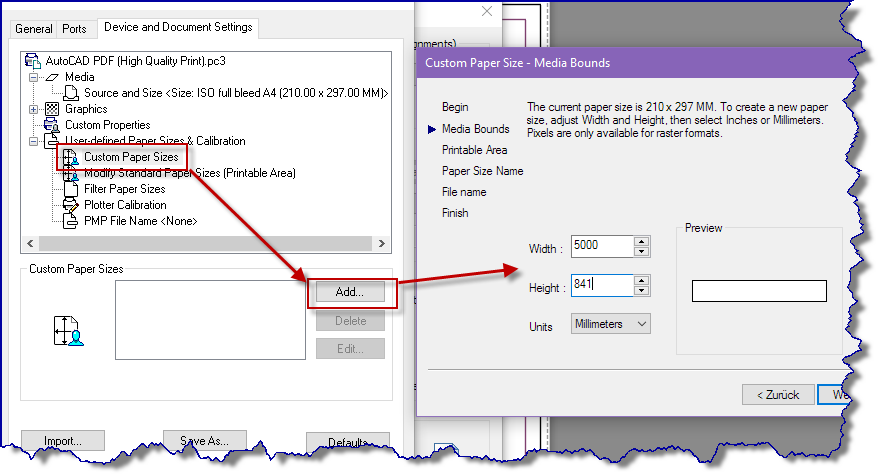 autocad custom paper size greyed out