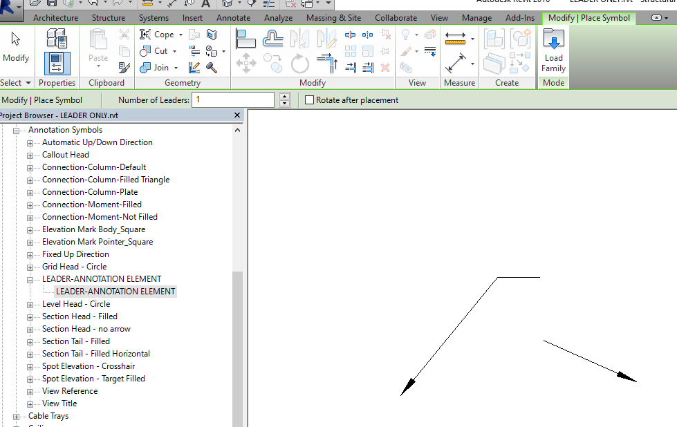 Drawing Lines Revit : Draw leader arrow lines with out text attached