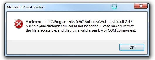 Solved: Vault 2017 - Unable to set reference to cmlloader dll in