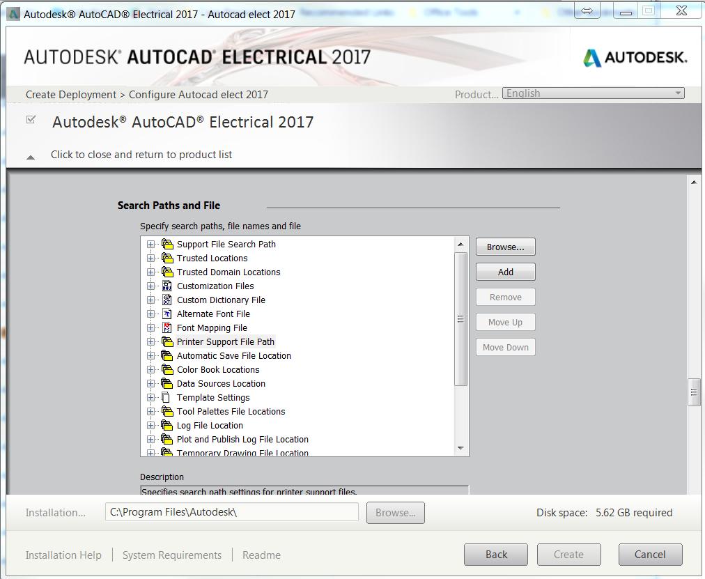 AutoCAD 2017 Installation Folder redirection and temp