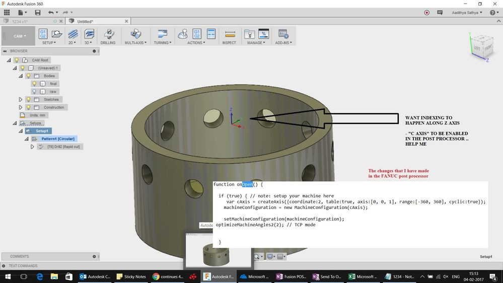 Request for a FANUC 4 axis (C Axis) post processor  cps file