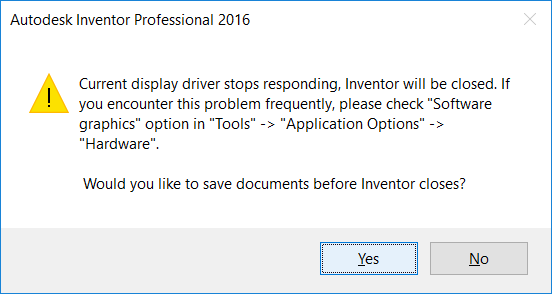 Solved: Current display driver stops responding - Autodesk
