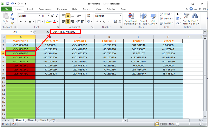 Solved: Export coordinates of selected object (arc or line) to excel