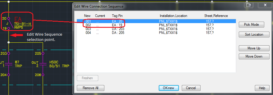 wire sequence shows single wire going to 2 connections points on