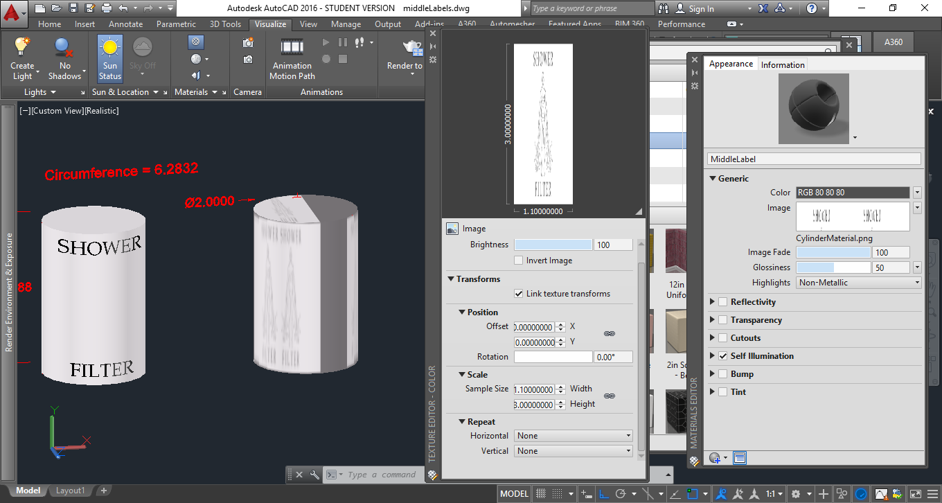how to create a cylinder in autocad