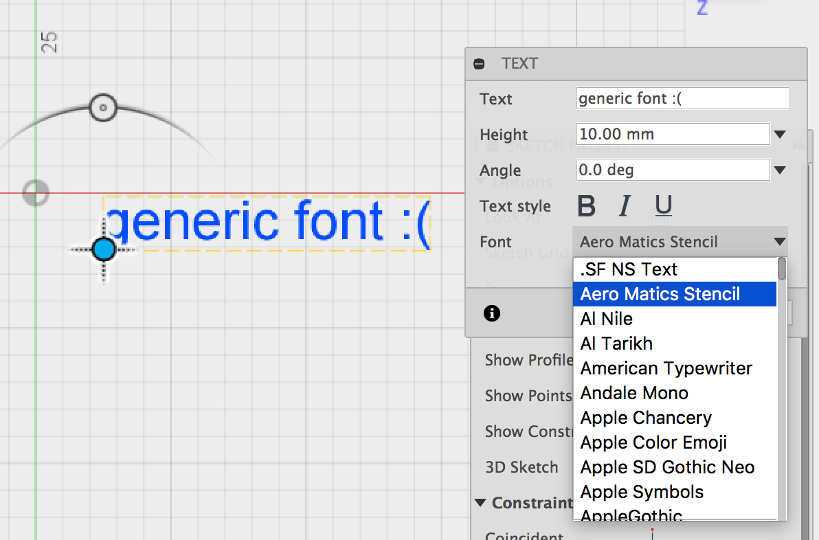 Installed fonts displayed as generic font rather than actual