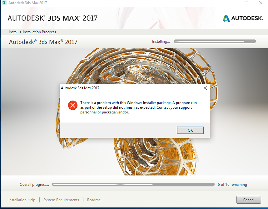 Solved: Error during 3DS MAX 2017 installation - problem