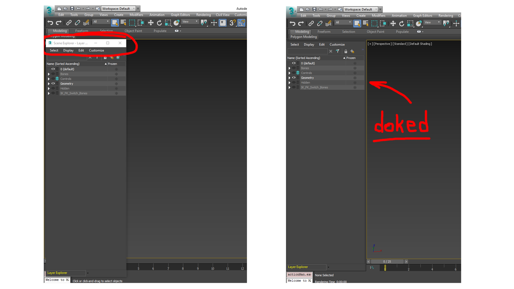 Start 3ds Max with the Layer Explorer docked and hidden
