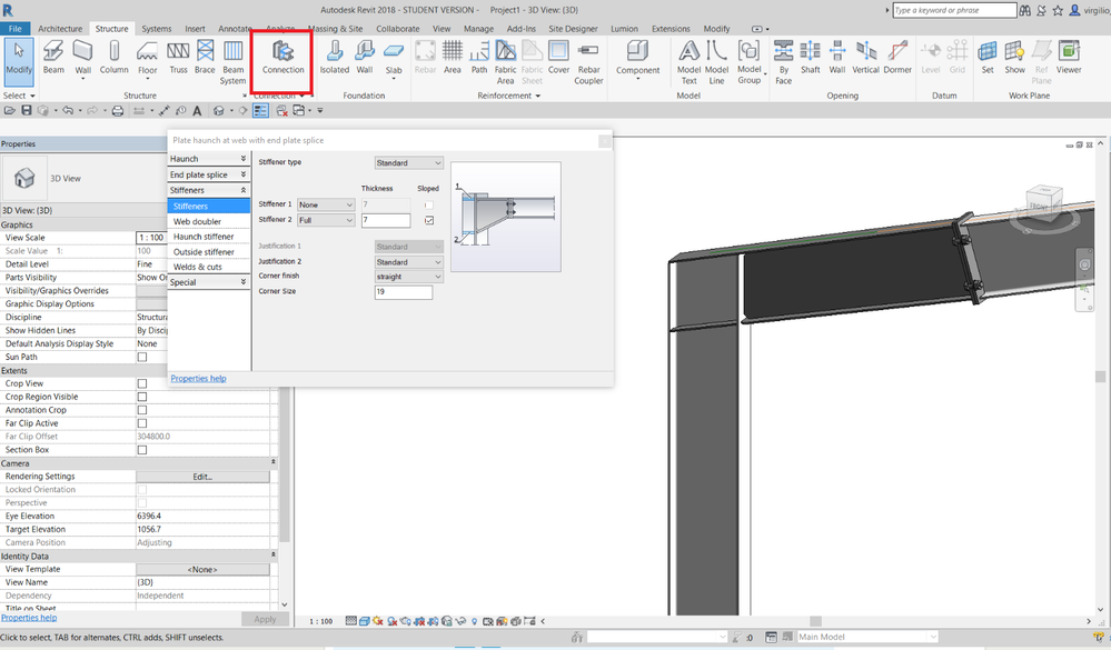 How To Create A Sloping Beam Welded To A Column