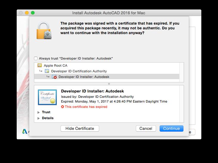 solved installer pkg certificate expired autodesk community rh forums autodesk com