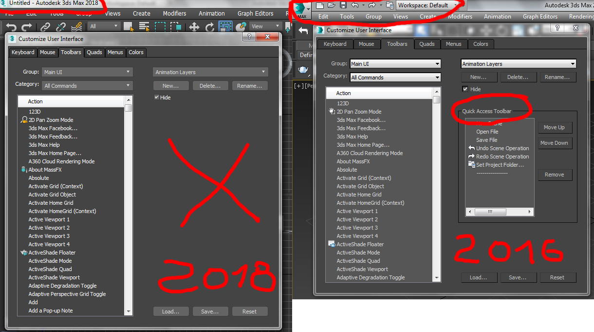 Solved 3ds Max 2018 Quick Access Toolbar Missing