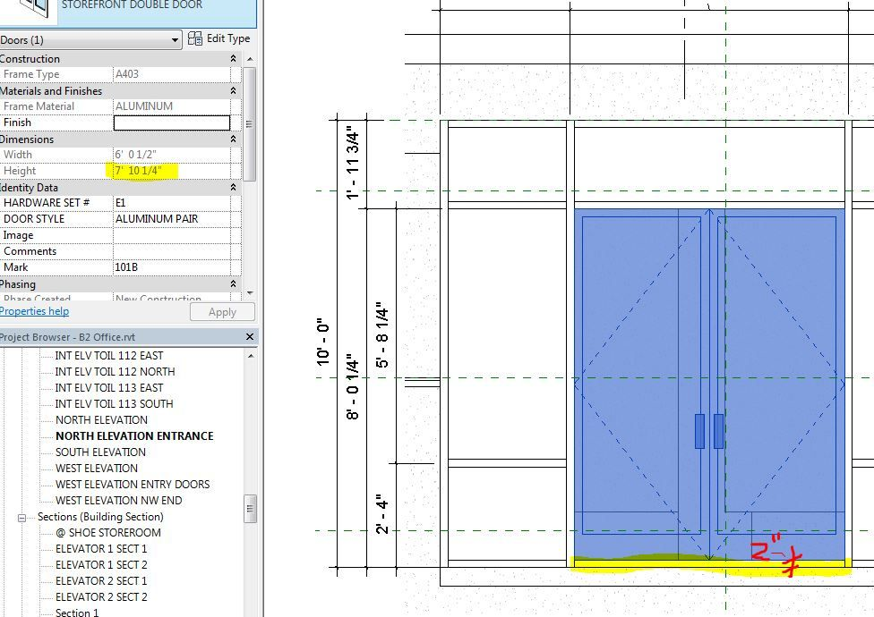 Solved Adjust Curtain Wall Door Height Autodesk Community
