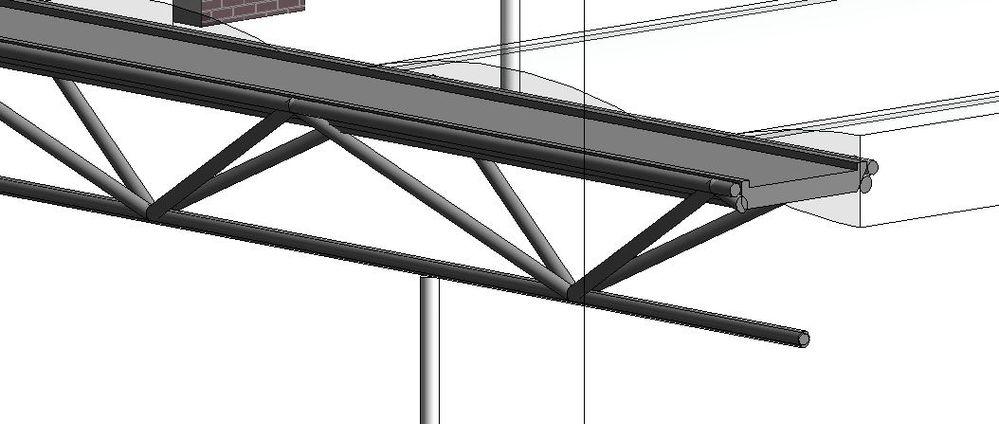 Truss with 2 top chords, diagonal webs (delta truss