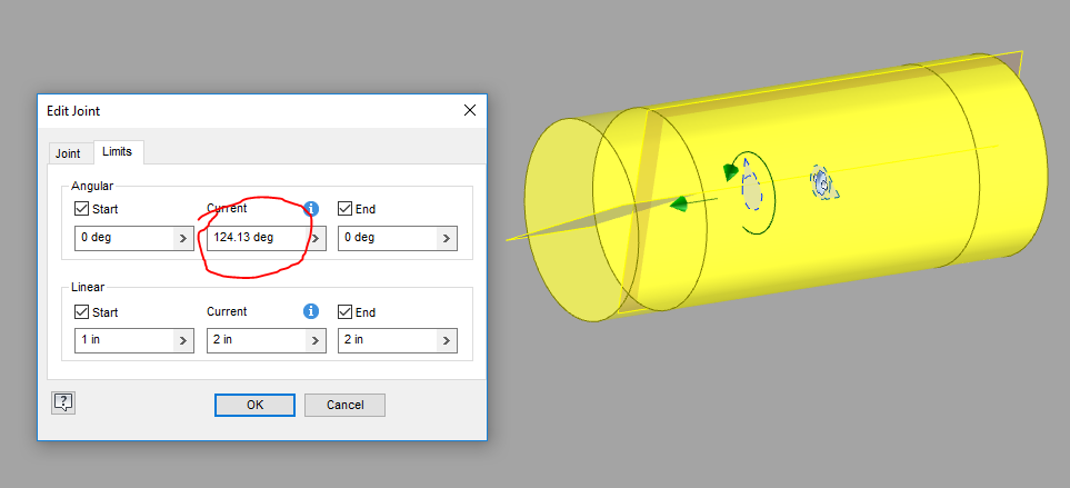Create a slider joint between two cylinders along the cylinder axis