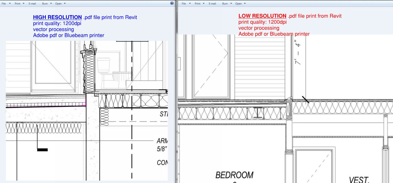 Revit 2017 pdf Printing Problem - low resolution and blurry