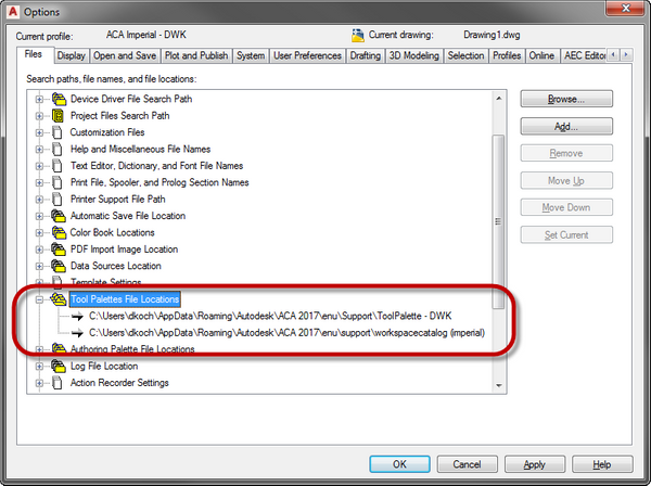 Solved: Setting up ACA in new WinProfile  Locations of ACA
