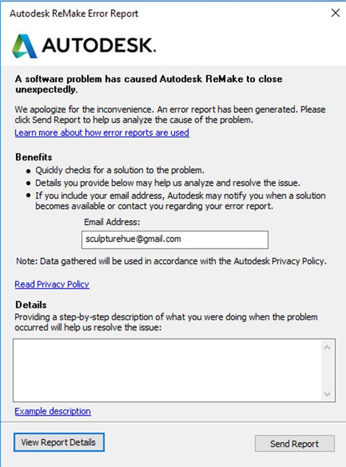 Autodesk Remake Error Report  Autodesk Community