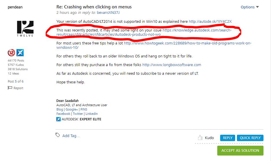 Crashing when clicking on menus - Autodesk Community- AutoCAD LT
