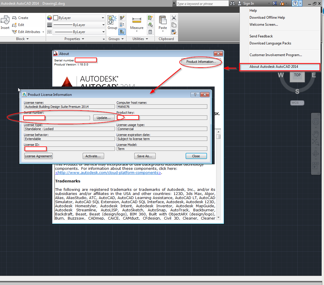 Trying to change the current product Key/Serial Number for Autodesk