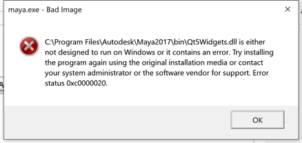 Solved: maya.exe - Bad Image Qt5Widgets.dll, Error status 0xc0000020