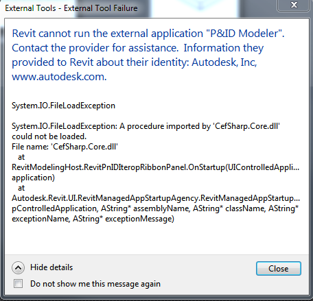 Solved: Revit cannot run the external application 'P&ID