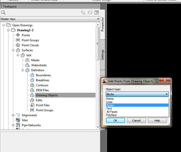 autocad civil 3d how to create a list