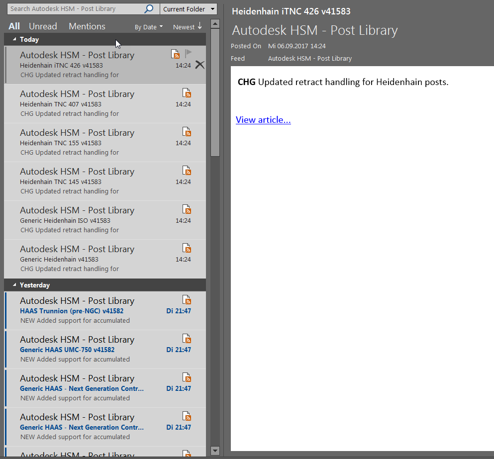 RSS newsfeed for post processor updates - Autodesk Community