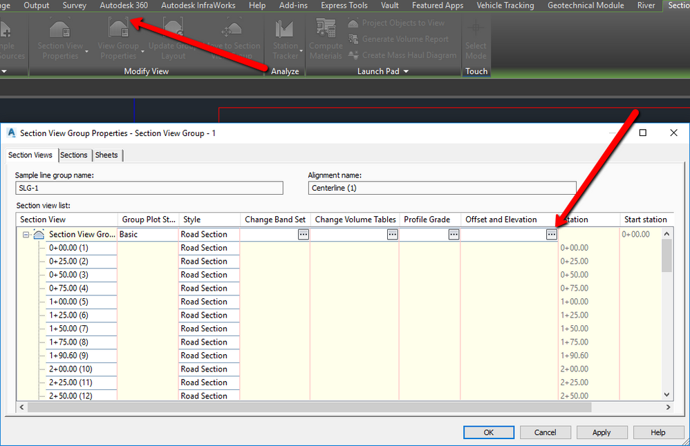 Editing Elevation and Offset for Multiple Section Views at