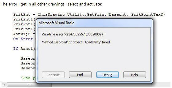 Solved: GETPOINT Fails error If I switch to another drawing