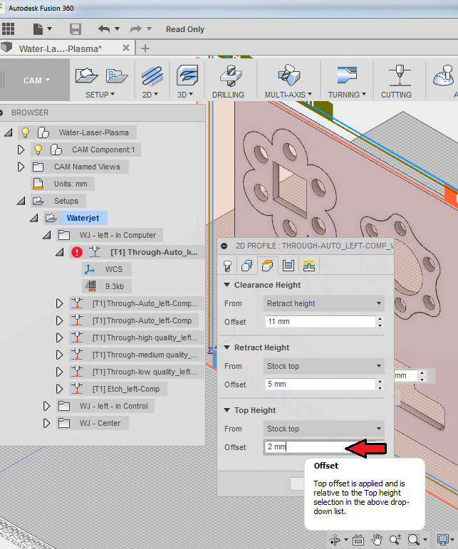 Using Fusion360 to generate tool paths for 2 5D Laser
