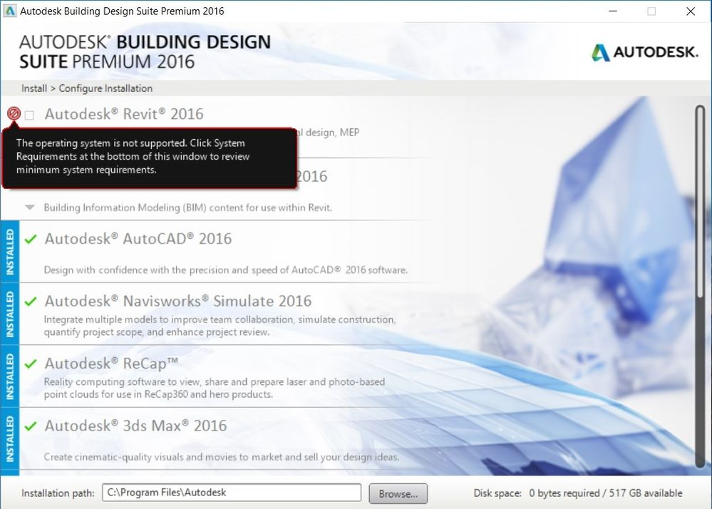 Solved: Problem installing Revit 2016 to Windows 10 Pro