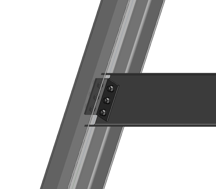 Base plate of a steel inclined beam connection to a concrete beam