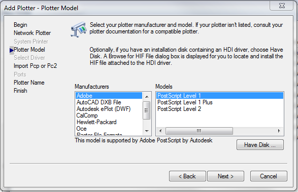 Solved: Designjet Z5200ps Missing From AutoCAD Printer List