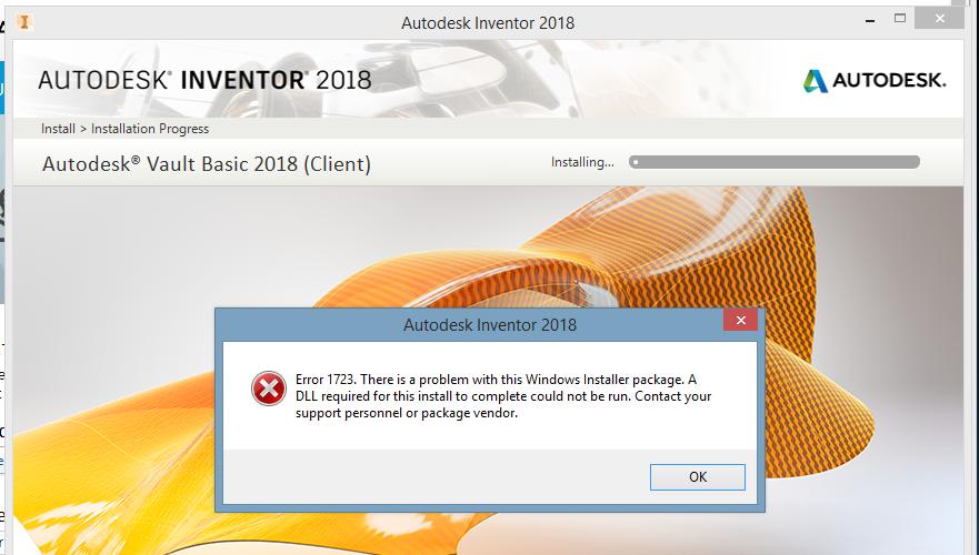 Solved: Error 1723 when installing Autodesk Inventor 2018