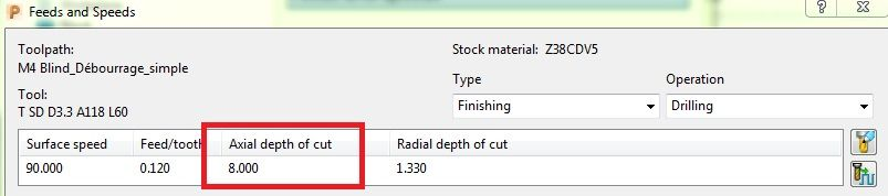 Save / Load Peck depth to / from drill tool cutting data