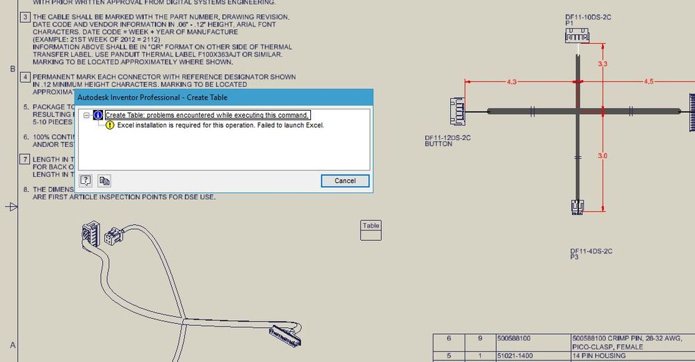 wire harness drawing create table in inventor 2018 cable drawing error autodesk  create table in inventor 2018 cable